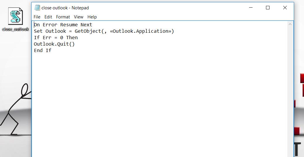 How to close Outlook via script