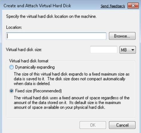 create virtual hard disk