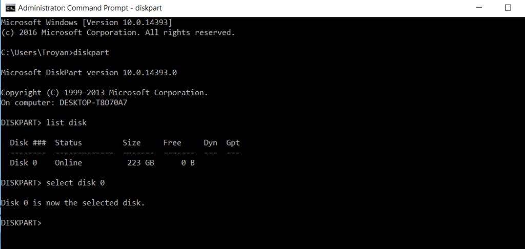 diskpart commant line