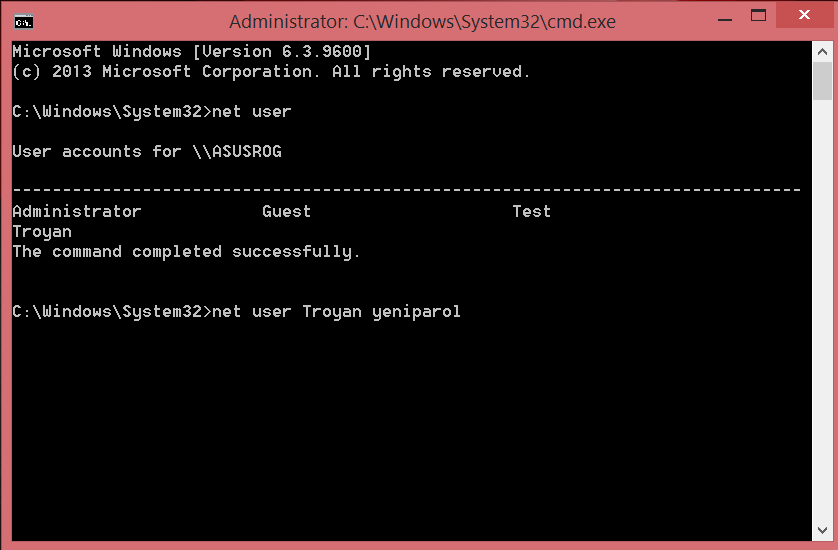 Change user password in Windows via command line