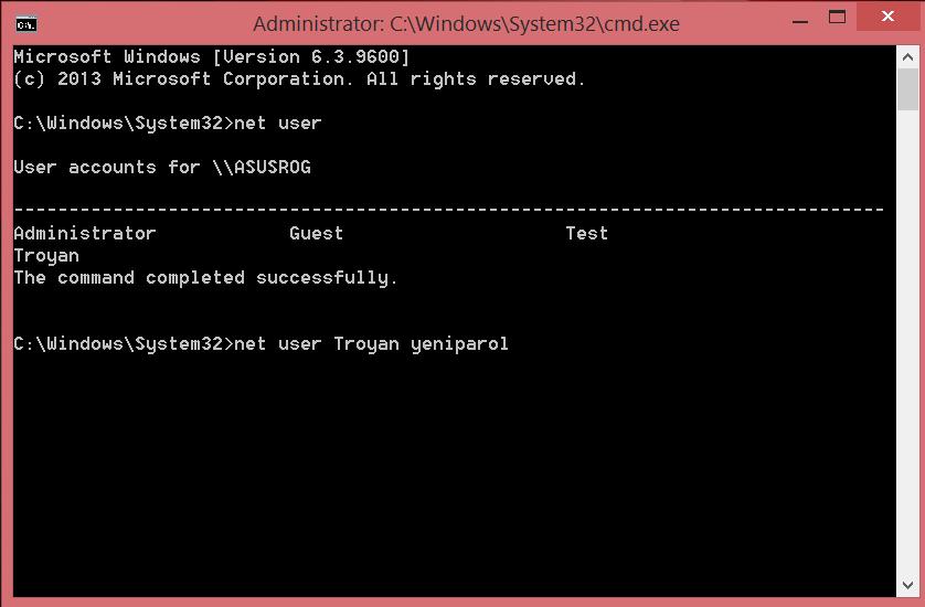 Change user password in Windows via command line