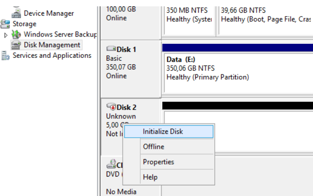 RAM disk initialization in the disk control panel