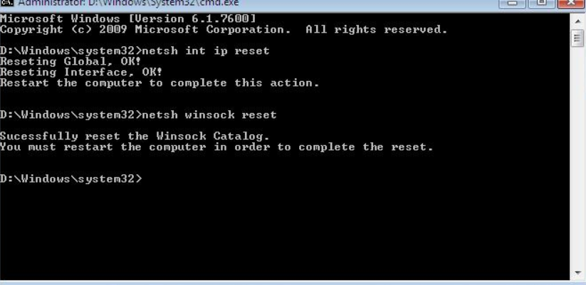 Reset TCP / IP protocol settings in Windows