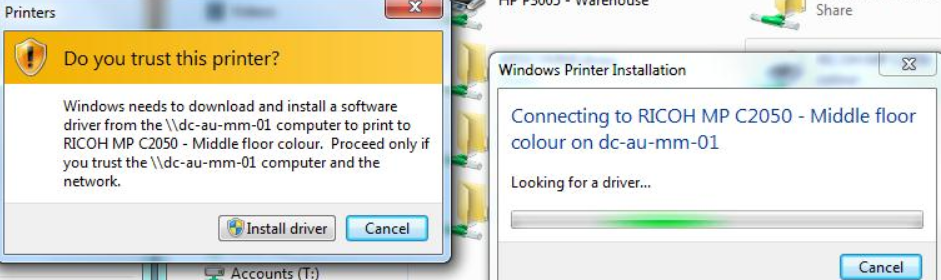 windows 7 cant install printer drivers
