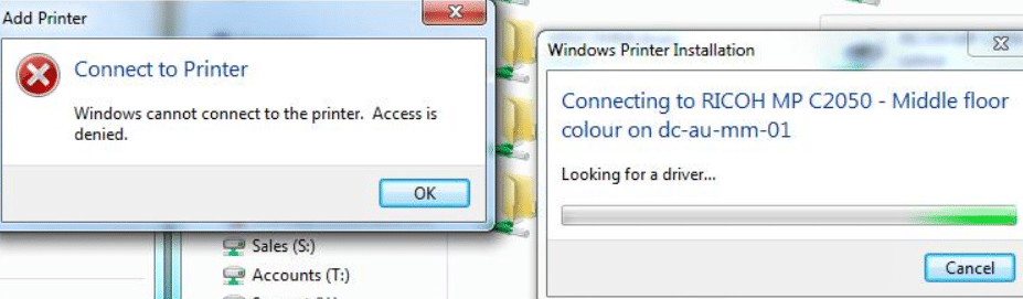 Unable to add network printer Windows 7