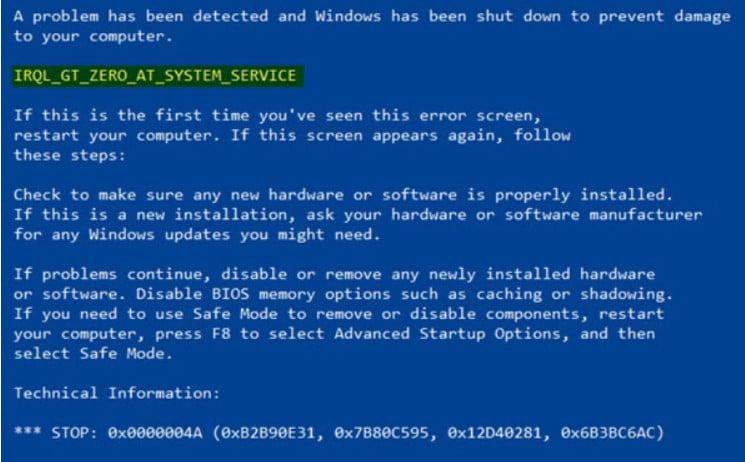 IRQL_GT_ZERO error in Windows