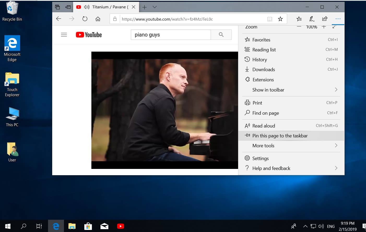 Pin the site to the taskbar or start menu in microsoft edge in Windows 10