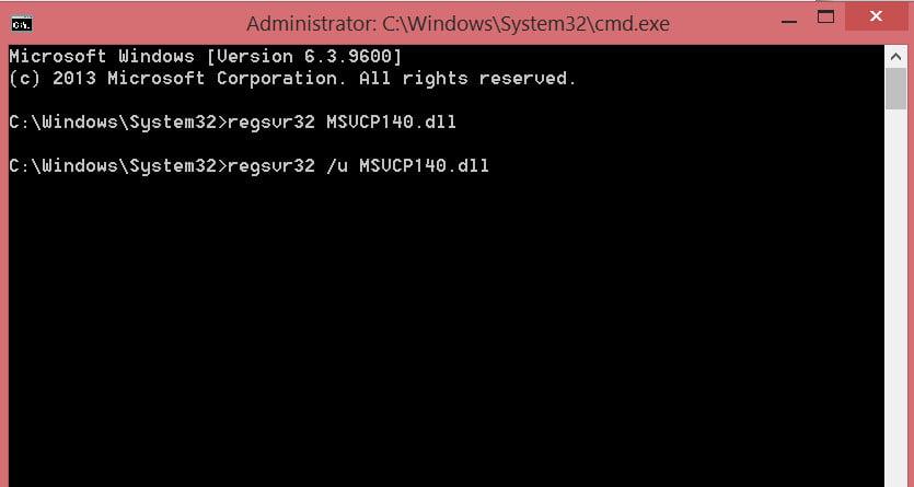 regsvr32 MSVCP140.dll