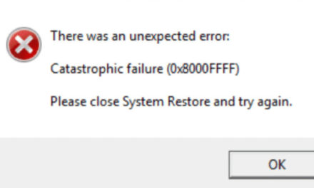 Error 0x8000ffff when restoring a Windows 10 system