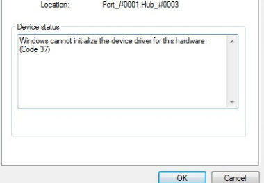 Failed to initialize the device driver (Code 37)