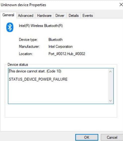 Error STATUS_DEVICE_POWER_FAILURE or btmshellex.dll in Windows 10