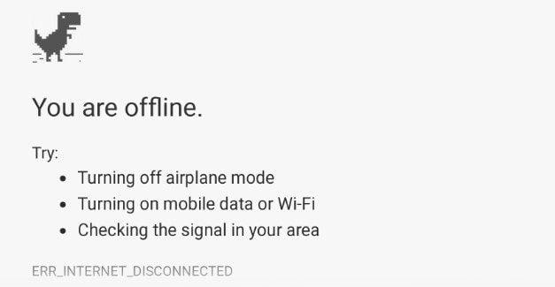 ERR_INTERNET_DISCONNECTED error in Google Chrome