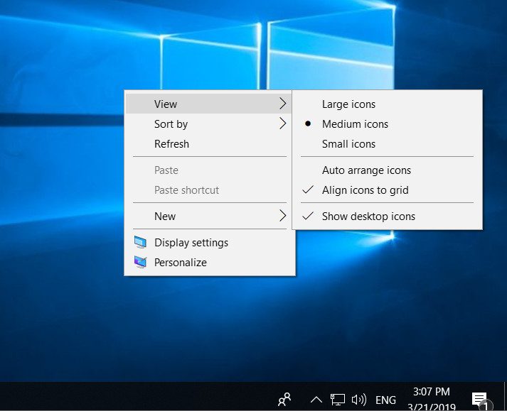 show desktop icons in windows 10