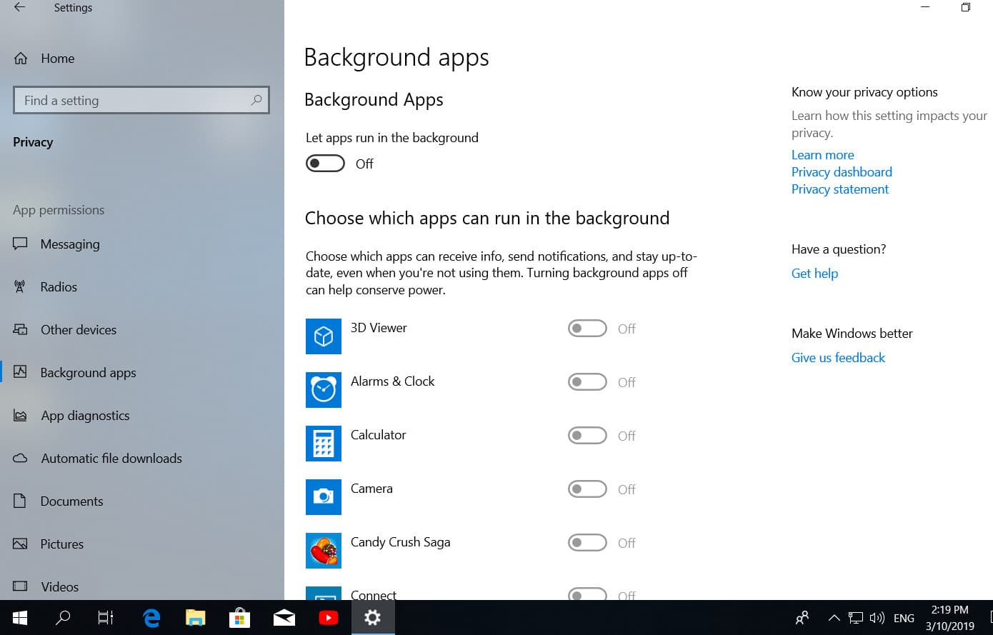 turn off background apps in Windows 10