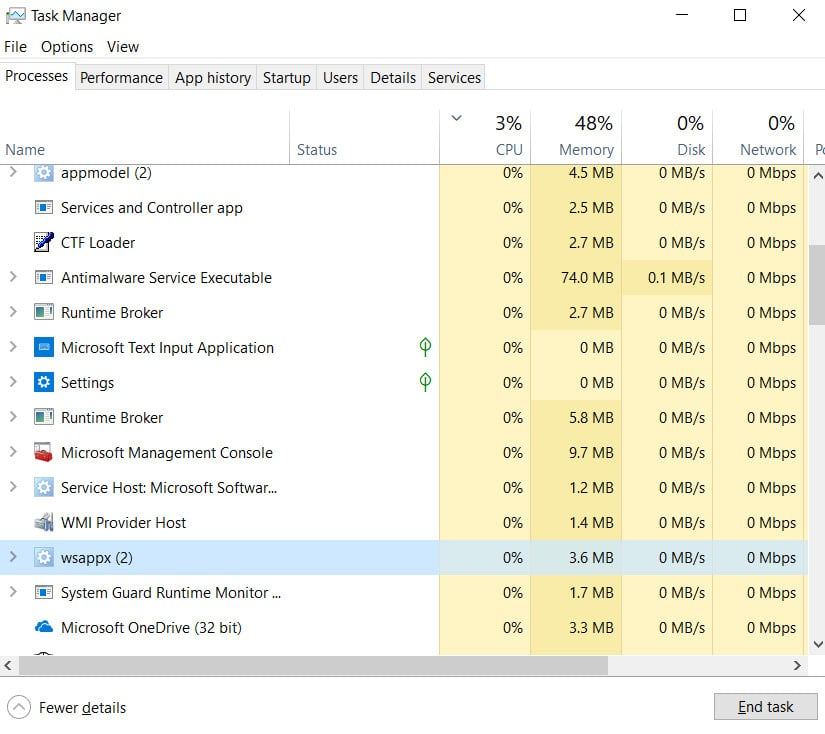 What is the WSAPPX process and how does it affect the processor and hard disk in Windows 10