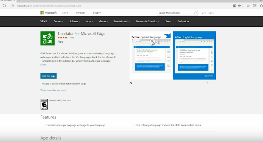 How to add translator to Microsoft Edge in Windows 10