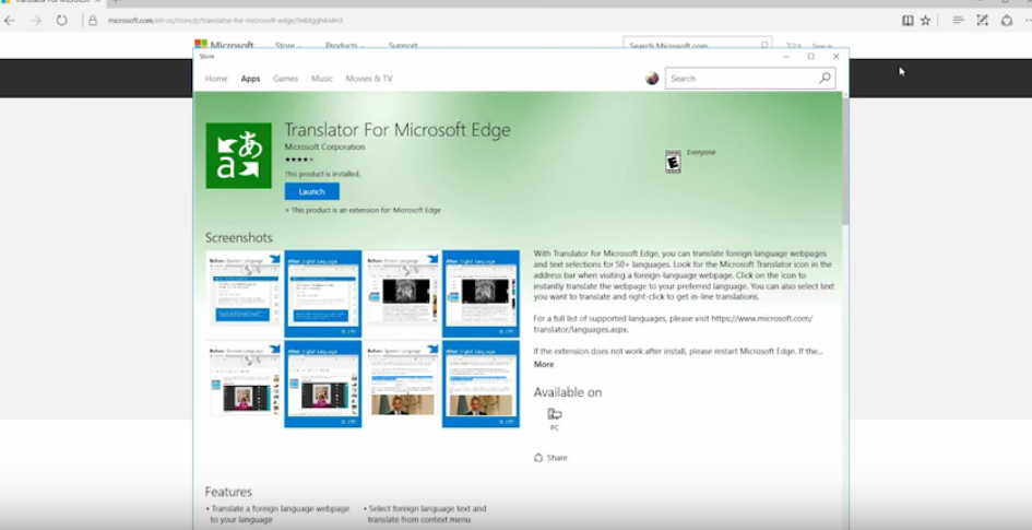 How to add  translator to Microsoft Edge