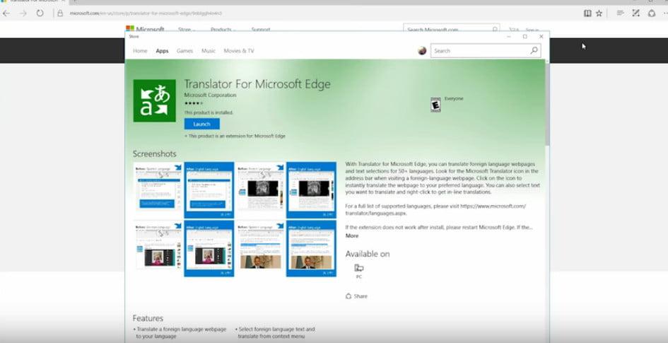 How to add  translator to Microsoft Edge