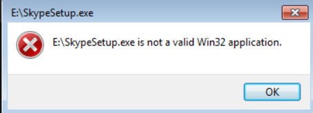 File is not a Win32 application