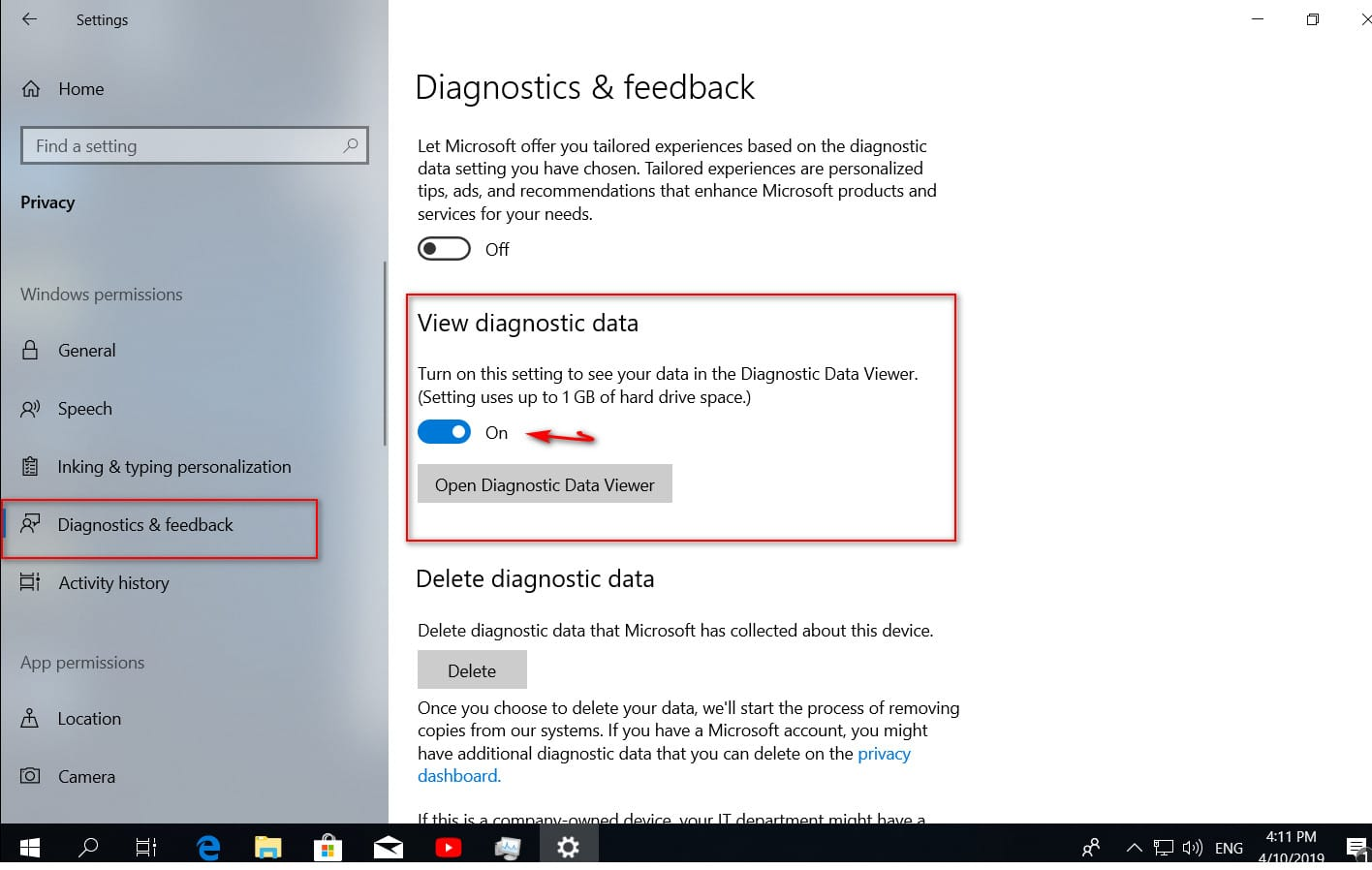 How to view and delete data sent to Microsoft