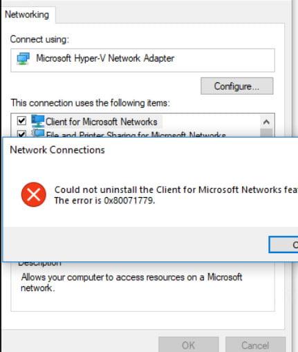 Fix the error 0x80071779 in Windows 10