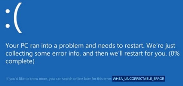 Fix WHEA_UNCORRECTABLE_ERROR error in Windows 10