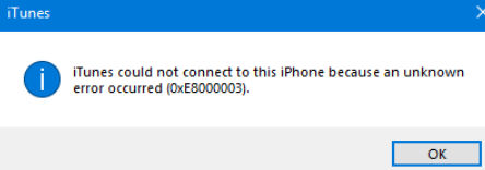 Fix iTunes 0xE8000003 Error in Windows 10 When Connecting iPhone