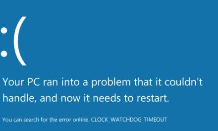 Error CLOCK WATCHDOG TIMEOUT blue screen in Windows 10