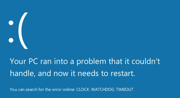 Error CLOCK WATCHDOG TIMEOUT blue screen in Windows 10