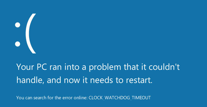 CLOCK WATCHDOG TIMEOUT Windows 10 error