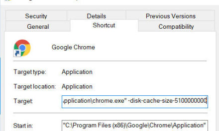 Resize Chrome Cache size for performance in Windows 10