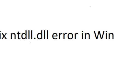 Fix ntdll.dll crash error in Windows 10