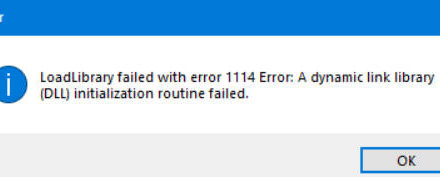 LoadLibrary error code 1114 in Windows 10