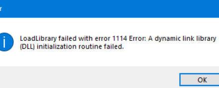 LoadLibrary error code 1114 in Windows 10
