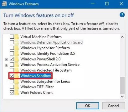 this photo is about how to enable disable windows 10 sandbox