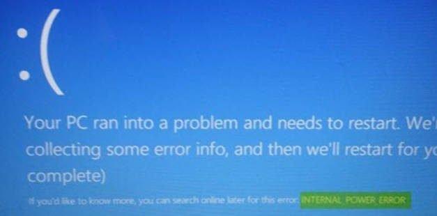 INTERNAL_POWER_ERROR on blue screen in Windows 10