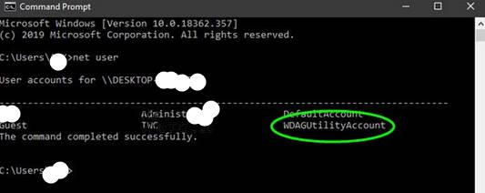 What is WDAGUtilityAccount on Windows 10?