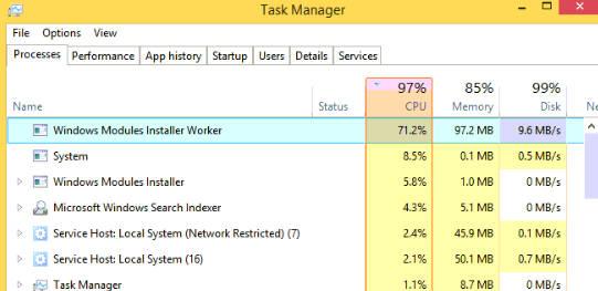 Windows Modules Installer Worker High CPU & Disk Usage
