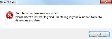 An internal system error occurred dxerror log