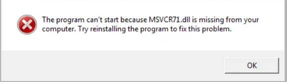 missing msvcr71.dll error