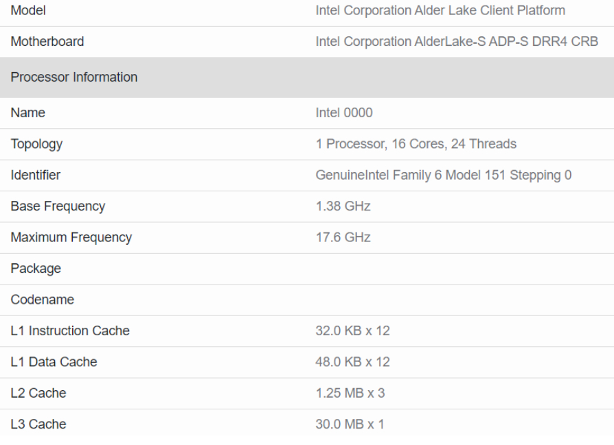 A 16-core/24-thread Intel Alder Lake-S processor has been spotted on the web